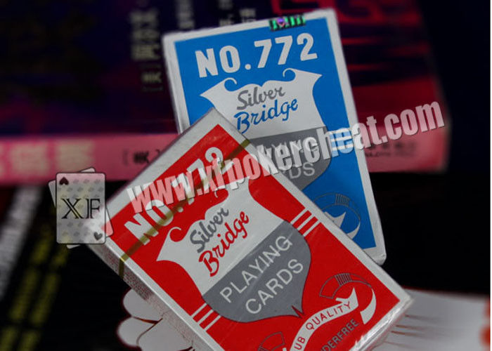 Custom Casino Gambling Props Silver Plastic Bridge Playing Cards , ISO9001